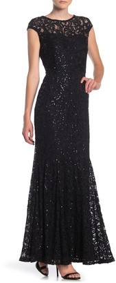 Marina Sequin Lace Cap Sleeve Mermaid Gown