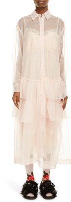 Simone Rocha Tiered Ruffle Hem Long Sleeve Midi Shirtdress