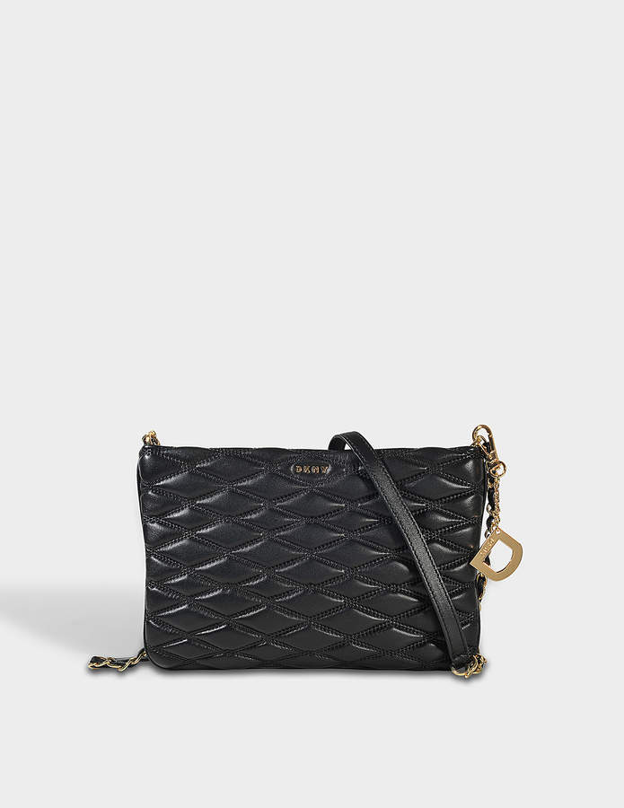 DKNY Diamond Quilted Top Zip Crossbody Bag in Black Quilted Lamb Nappa Leather