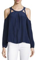 Ramy Brook Alana Long-Sleeve Cold-Shoulder Top, Navy