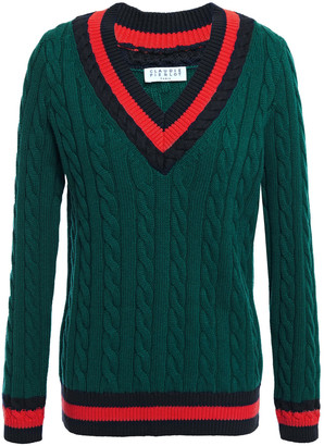Claudie Pierlot Striped Cable-knit Cotton And Wool-blend Sweater