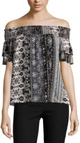 BY AND BY by&by Short Sleeve Boat Neck Crepon Blouse-Juniors