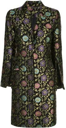 Josie Natori Ornate Floral Jacquard Coat