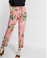 Express Mid Rise Floral Print Jersey Sash Pant