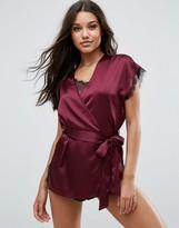 Asos Lace Wrap Satin & Lace Mini Robe