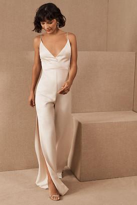 Anthropologie Monique Lhuillier Bridesmaids Doutzen Jumpsuit By in White Size 2