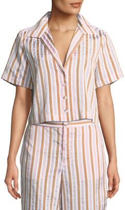 Frame Short-Sleeve Button-Down Striped Crop Shirt