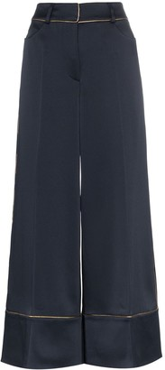 Peter Pilotto High-waisted contrast trim wide-leg trousers