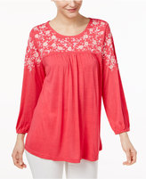 NY Collection Embroidered Blouse