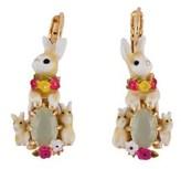 Les Nereides Loves Animals Rabbit's Family And Stone Clip Earrings.