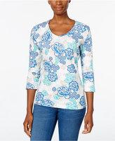 Karen Scott Floral-Print V-Neck Top, Only at Macy's