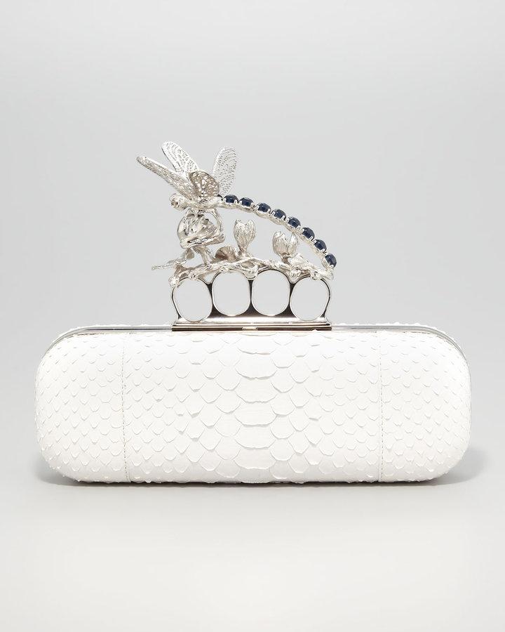 Alexander McQueen Dragonfly Python Knuckle-Duster Clutch Bag