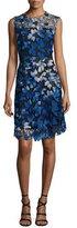 Elie Tahari Kaisa Sleeveless Jewel-Neck Floral Lace Dress, Waterfall Multi