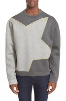 Versace Men's Colorblock Star Studded Neoprene Sweatshirt