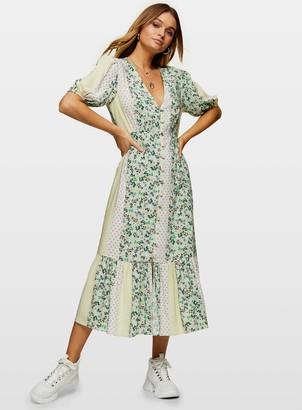 Miss Selfridge Pale Green Spliced Print Midi Dress