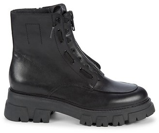 Ash Lynch Lug-Sole Leather & Calf Hair Combat Boots