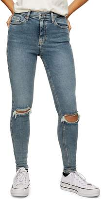 Topshop Greencast Ripped Jamie Jeans 34-Inch Leg