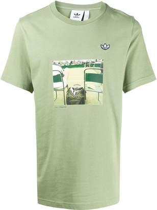 adidas centre court print T-shirt