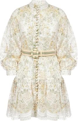 Zimmermann Amelie Floral Print Embroidered Linen Short Dress