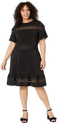 MICHAEL Michael Kors Size Mesh Mix Short Sleeve Dress (Black) Women's Dress