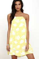 LuLu*s Honolua Bay Yellow Floral Print Halter Dress