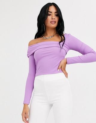 Asos Design DESIGN asymmetric one shoulder top in rib in purple
