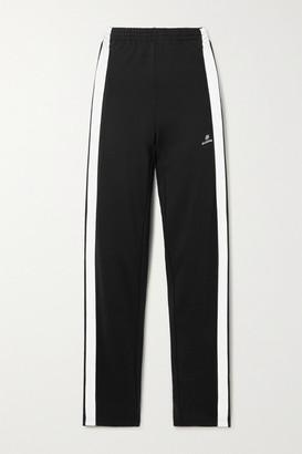 Balenciaga Striped Embroidered Tech-jersey Track Pants - Black
