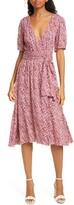 BA&SH Noemie Floral Short Sleeve Wrap Midi Dress