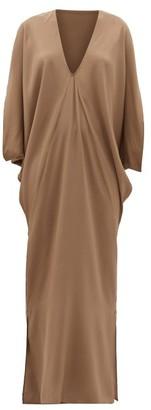 BEIGE Thea - The Selene Dolman-sleeve Silk Maxi Dress - Womens - Dark