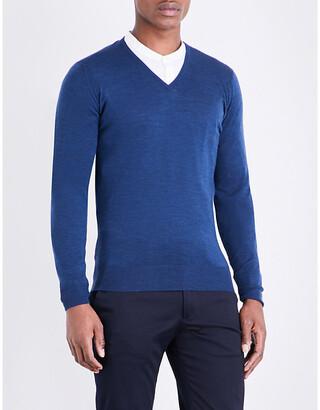 John Smedley Men's Indigo Blenheim V-Neck Merino Wool Jumper, Size: L
