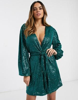 Pretty Lavish tie mini dress in emerald sequin-Green