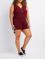 Charlotte Russe Plus Size Zip-Up Sleeveless Romper