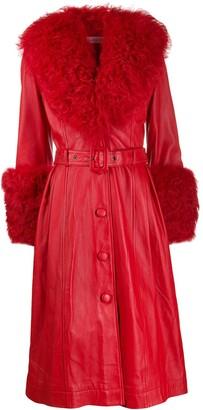 Saks Potts belted A-line shearling coat