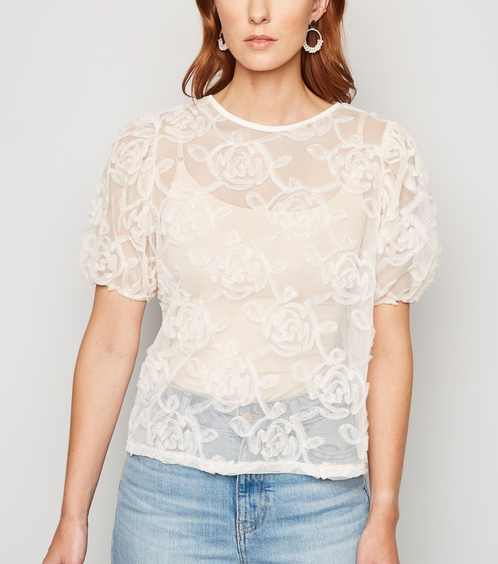 Thumbnail for your product : New Look Squiggle Mesh Puff Sleeve Top