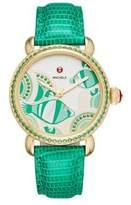 Michele Seaside Diamond, Topaz & Lizard-Embossed Leather Strap Watch