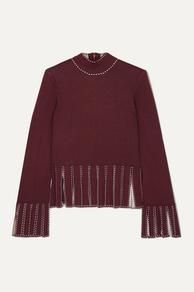 STAUD Mika Cropped Fringed Stretch-knit Top - Merlot