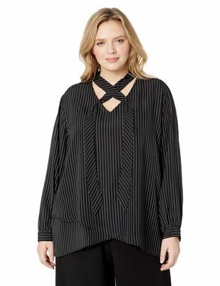 Karen Kane Women's Plus Size Stripe TIE-Neck Crossover TOP 1X