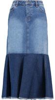 Robert Rodriguez Two-Tone Frayed Denim Midi Skirt