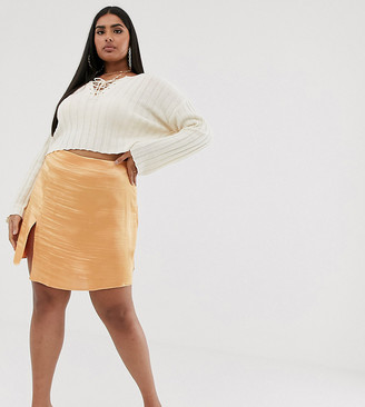 Asos DESIGN Curve satin mini skirt with split-Orange
