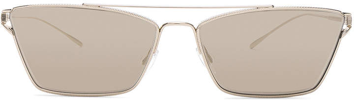 Oliver Peoples Evey Sunglasses in Gold & Taupe Flash Mirror | FWRD