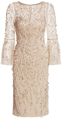 Theia Beaded Flounce-Sleeve Sheath Dress