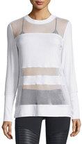 Alo Yoga Plank Mesh-Panel Long-Sleeve Top, White