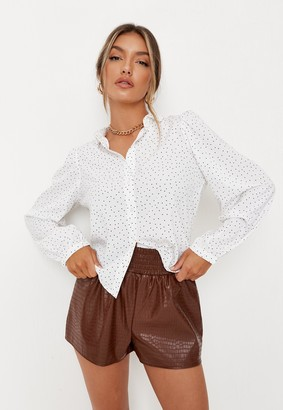 Missguided White Dalmatian Print Basic Long Sleeve Shirt