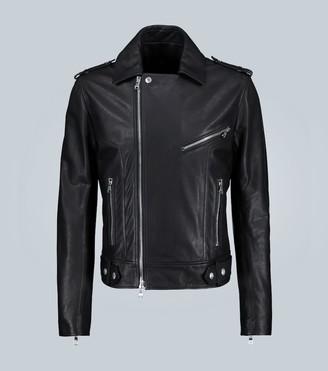 Balmain Back logo leather jacket