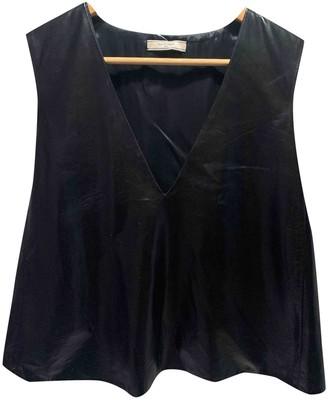 Bouchra Jarrar Black Leather Tops