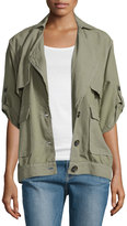 Frame Oversized Half-Sleeve Jacket, Olive