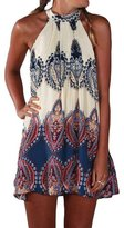 StellarChic Women Paisley Halter Neck Dress Beach Swimwear Coverup