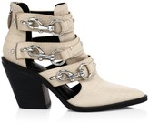Rebecca Minkoff Seavie Lobster Clip Croc-Embossed Leather Ankle Boots