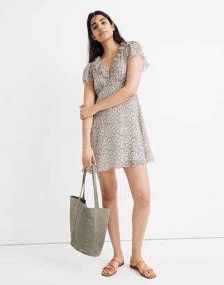 Madewell Petite Silk Ruffle-Neck Mini Dress