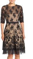 Eliza J Lace Mesh Fit & Flare Dress (Petite)